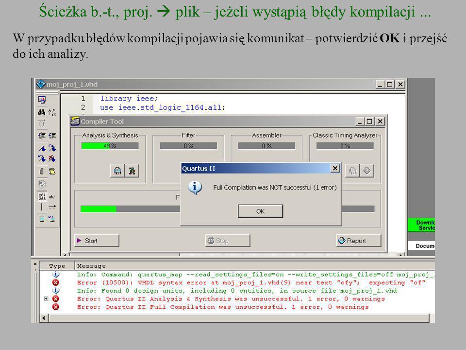 Ścieżka b.-t., proj. plik – jeżeli wystąpią błędy kompilacji... W przypadku błędów kompilacji pojawia się komunikat – potwierdzić OK i przejść do ich