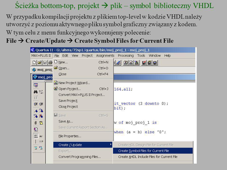 W przypadku kompilacji projektu z plikiem top-level w kodzie VHDL należy utworzyć z poziomu aktywnego pliku symbol graficzny związany z kodem. W tym c