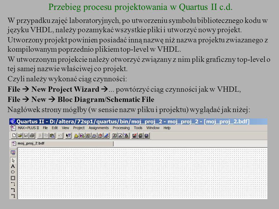 Przebieg procesu projektowania w Quartus II c.d. W przypadku zajęć laboratoryjnych, po utworzeniu symbolu bibliotecznego kodu w języku VHDL, należy po