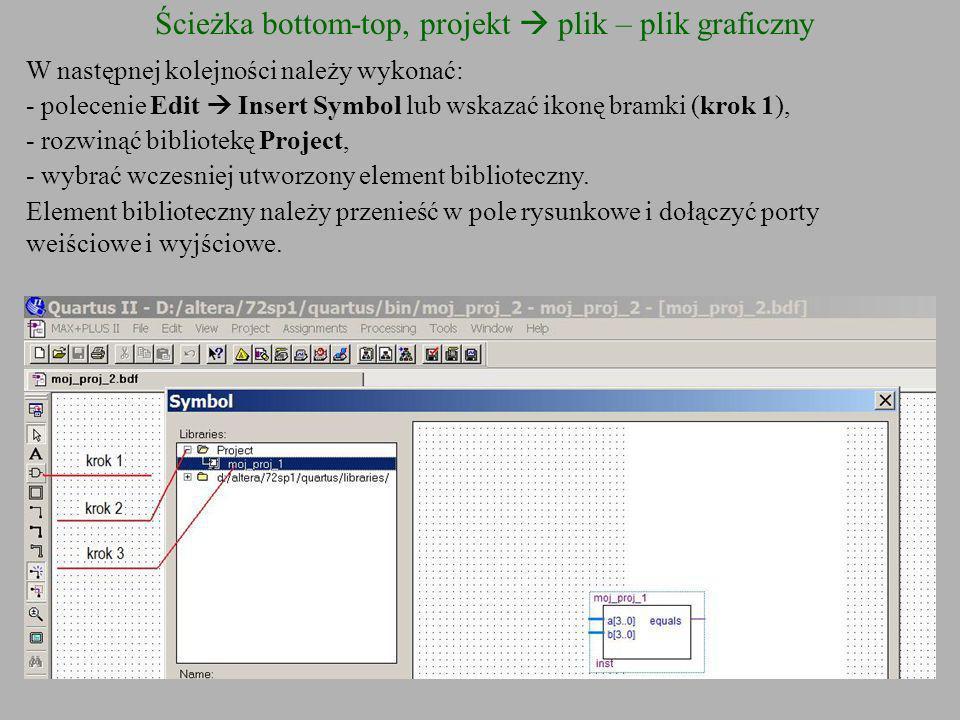 Ścieżka bottom-top, projekt plik – plik graficzny W następnej kolejności należy wykonać: - polecenie Edit Insert Symbol lub wskazać ikonę bramki (krok
