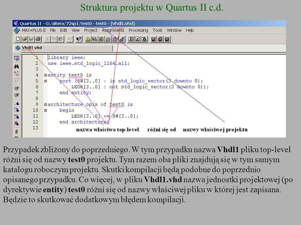 Struktura projektu w Quartus II c.d. Przypadek zbliżony do poprzedniego. W tym przypadku nazwa Vhdl1 pliku top-level różni się od nazwy test0 projektu