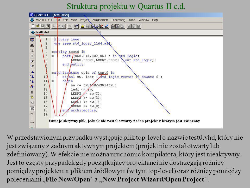 Struktura projektu w Quartus II c.d. W przedstawionym przypadku występuje plik top-level o nazwie test0.vhd, który nie jest związany z żadnym aktywnym