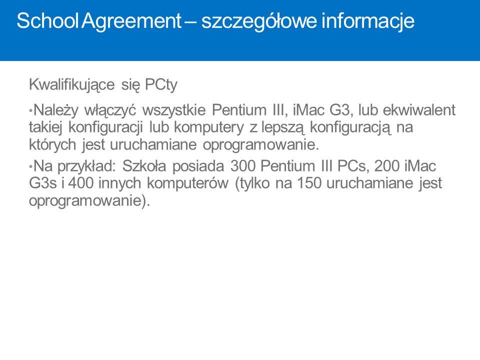 School Agreement – szczegółowe informacje Kwalifikujące się PCty Należy włączyć wszystkie Pentium III, iMac G3, lub ekwiwalent takiej konfiguracji lub