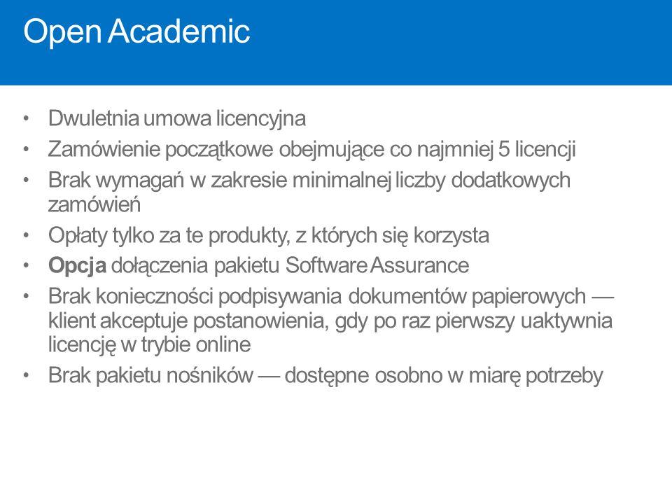 Open Academic Dwuletnia umowa licencyjna Zamówienie początkowe obejmujące co najmniej 5 licencji Brak wymagań w zakresie minimalnej liczby dodatkowych