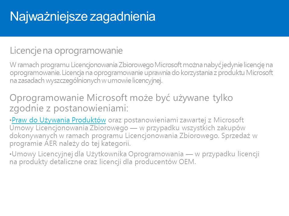 Najważniejsze zagadnienia Licencje na oprogramowanie W ramach programu Licencjonowania Zbiorowego Microsoft można nabyć jedynie licencję na oprogramow