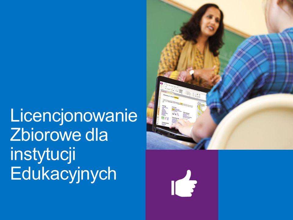 Uprawnieni użytkownicy edukacyjni: Programy Licencjonowania Zbiorowego dla instytucji edukacyjnych są dostępne dla uprawnionych użytkowników, takich jak instytucje edukacyjne, administracyjne i kuratoria oświaty.
