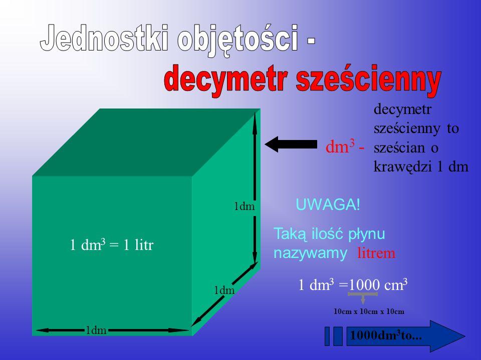 centymetr sześcienny – sześcian o krawędzi 1 cm 1 cm Ta budowla ma objętość cm 3 cm 3 - Ta budowla ma objętość 4 cm 3 16 1 000cm 3 to...
