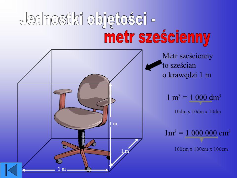 dm 3 - decymetr sześcienny to sześcian o krawędzi 1 dm UWAGA! Taką ilość płynu nazywamy litrem 1 dm 3 = 1 litr 1dm 1 dm 3 =1000 cm 3 10cm x 10cm x 10c