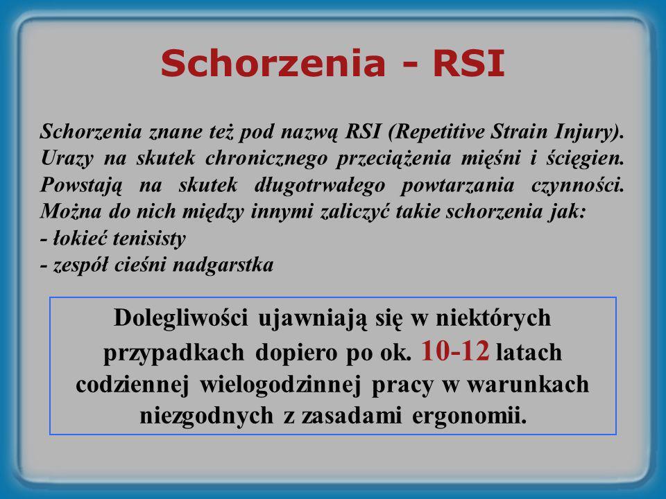 Schorzenia - RSI Schorzenia znane też pod nazwą RSI (Repetitive Strain Injury). Urazy na skutek chronicznego przeciążenia mięśni i ścięgien. Powstają