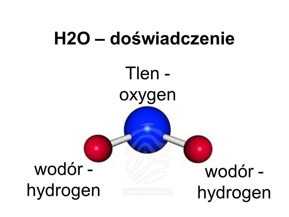 H2O – doświadczenie Tlen - oxygen wodór - hydrogen