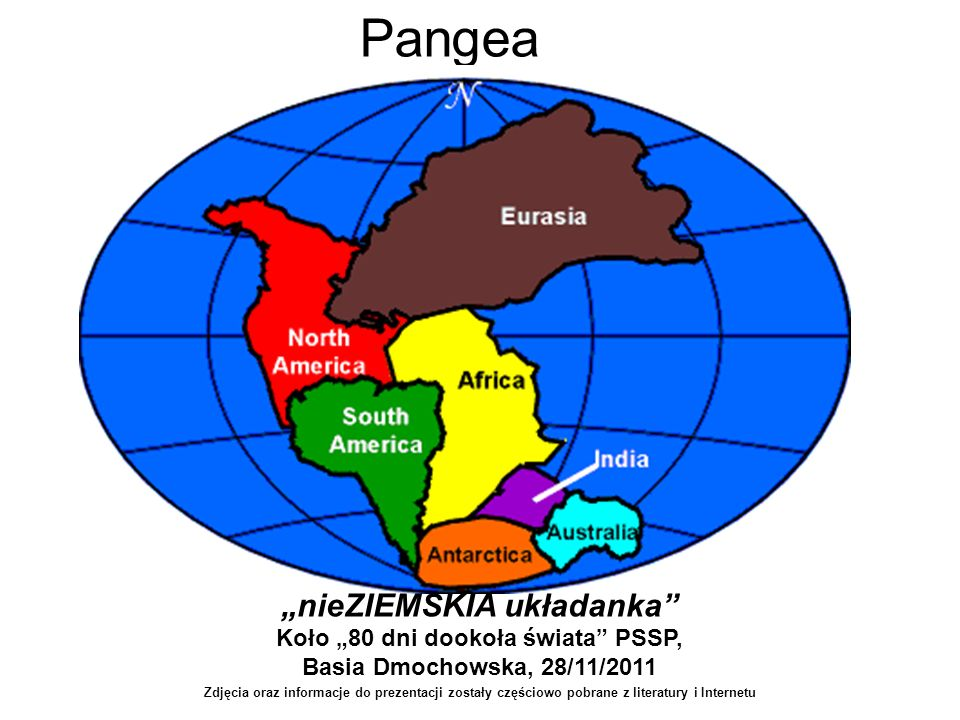 Pangea nieZIEMSKIA układanka Koło 80 dni dookoła świata PSSP, Basia Dmochowska, 28/11/2011 Zdjęcia oraz informacje do prezentacji zostały częściowo po