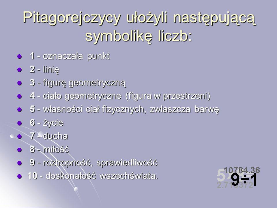 Pitagorejczycy… Pitagorejczycy poza zagadnieniami z zakresu geometrii interesowali się także teorią liczb. Spośród wszystkich liczb naturalnych, wyróż