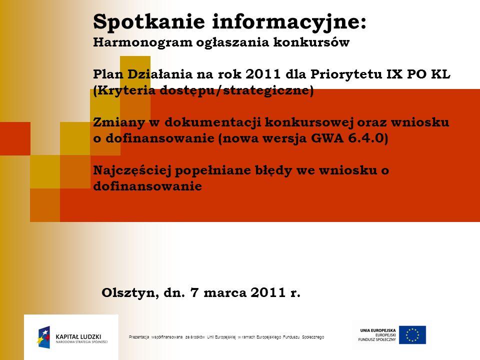 II - Działanie 9.4 Wysoko wykwalifikowane kadry systemu oświaty KONKURS NA PROJEKTY STANDARDOWE ORAZ PROJEKTY Z KOMPONENTEM PONADNARODOWYM Ogłoszenie konkursu i nabór wniosków: 16 maja 2011 r., nabór trwa od 30 maja do 28 czerwca 2011 r.