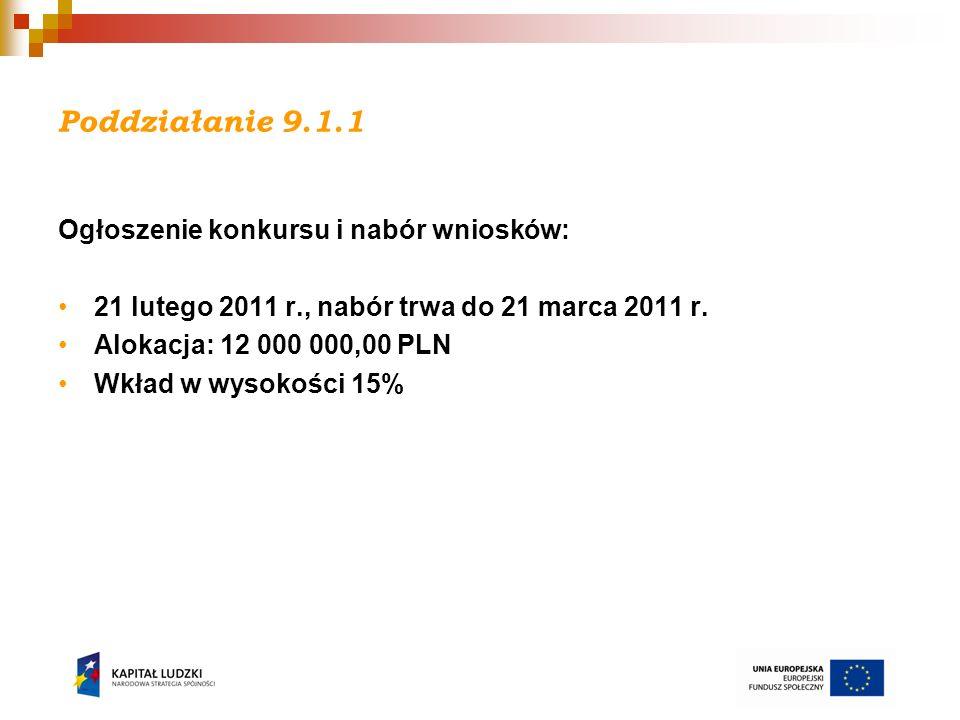 Działanie 9.2 Ogłoszenie konkursu i nabór wniosków: 31 marca 2011 r., nabór trwa do 29 kwietnia 2011 r.