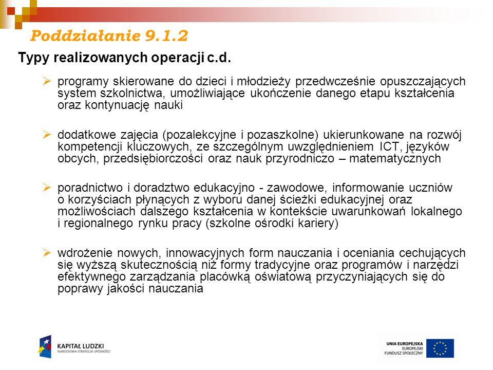 I - Działanie 9.4 Kryteria dostępu: Projekt skierowany jest do grup docelowych z obszaru woj.