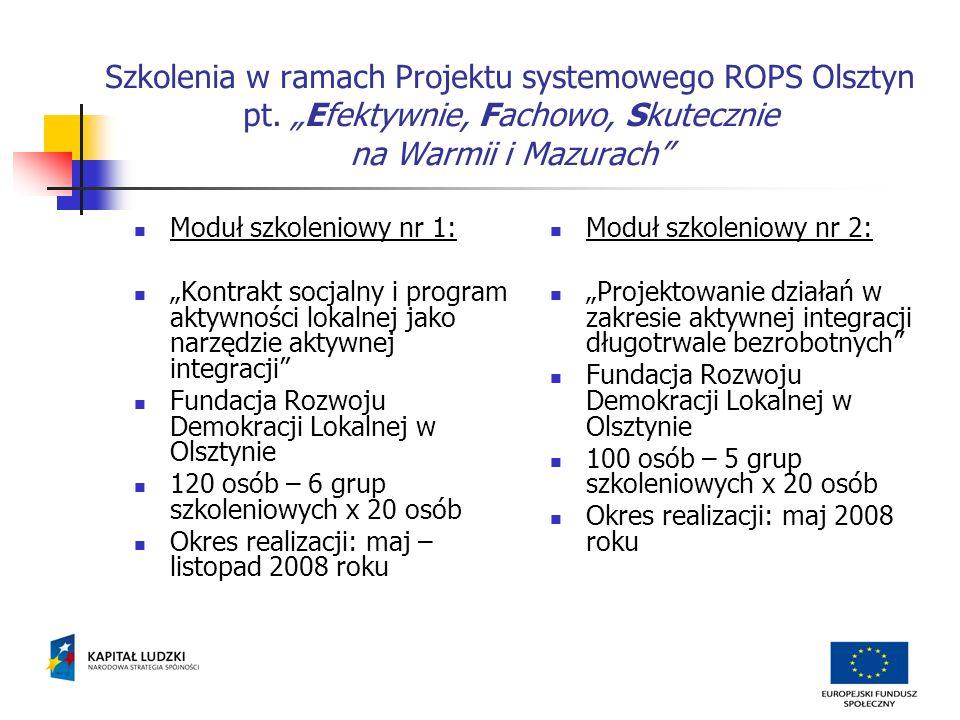 Szkolenia w ramach Projektu systemowego ROPS Olsztyn pt.