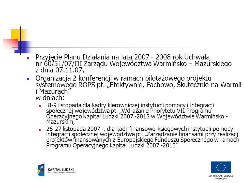 Przyjęcie Planu Działania na lata 2007 - 2008 rok Uchwałą nr 60/51/07/III Zarządu Województwa Warmińsko – Mazurskiego z dnia 07.11.07, Organizacja 2 konferencji w ramach pilotażowego projektu systemowego ROPS pt.
