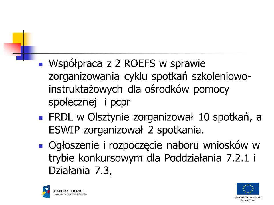 Współpraca z 2 ROEFS w sprawie zorganizowania cyklu spotkań szkoleniowo- instruktażowych dla ośrodków pomocy społecznej i pcpr FRDL w Olsztynie zorganizował 10 spotkań, a ESWIP zorganizował 2 spotkania.