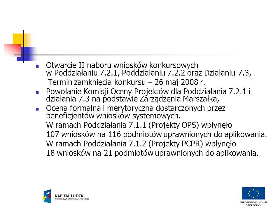 Otwarcie II naboru wniosków konkursowych w Poddziałaniu 7.2.1, Poddziałaniu 7.2.2 oraz Działaniu 7.3, Termin zamknięcia konkursu – 26 maj 2008 r.