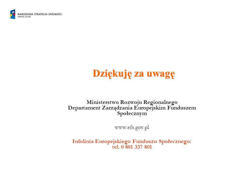 Dziękuję za uwagę Ministerstwo Rozwoju Regionalnego Departament Zarządzania Europejskim Funduszem Społecznym www.efs.gov.pl Infolinia Europejskiego Funduszu Społecznego: tel.