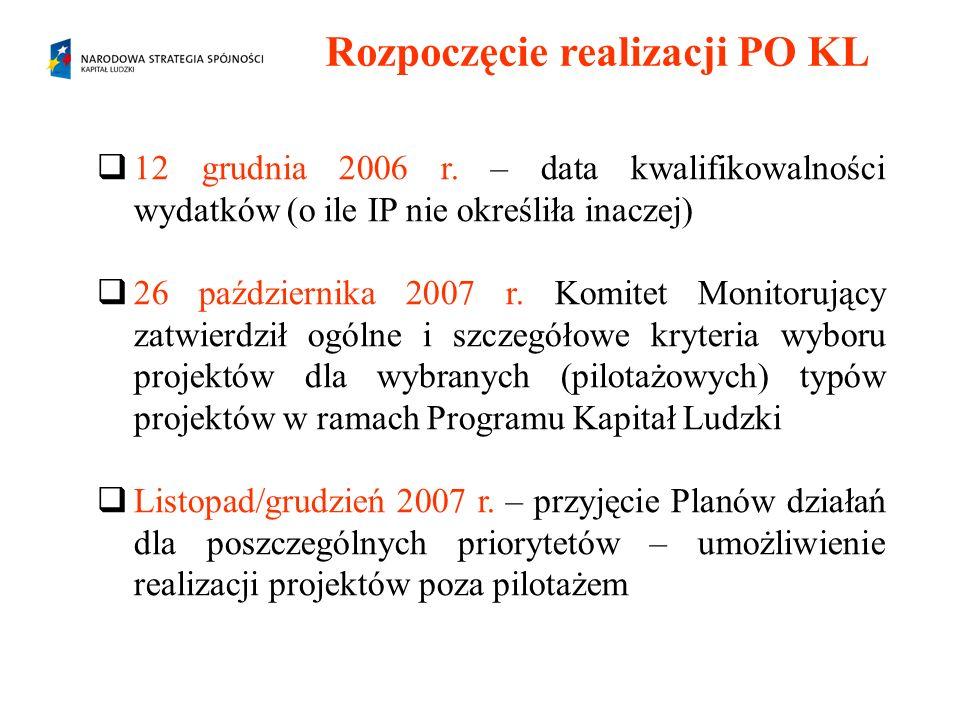 Rozpoczęcie realizacji PO KL 12 grudnia 2006 r. – data kwalifikowalności wydatków (o ile IP nie określiła inaczej) 26 października 2007 r. Komitet Mon