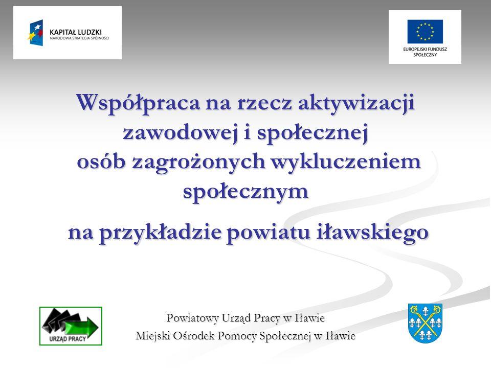 Współpraca na rzecz aktywizacji zawodowej i społecznej osób zagrożonych wykluczeniem społecznym na przykładzie powiatu iławskiego Powiatowy Urząd Pracy w Iławie Miejski Ośrodek Pomocy Społecznej w Iławie