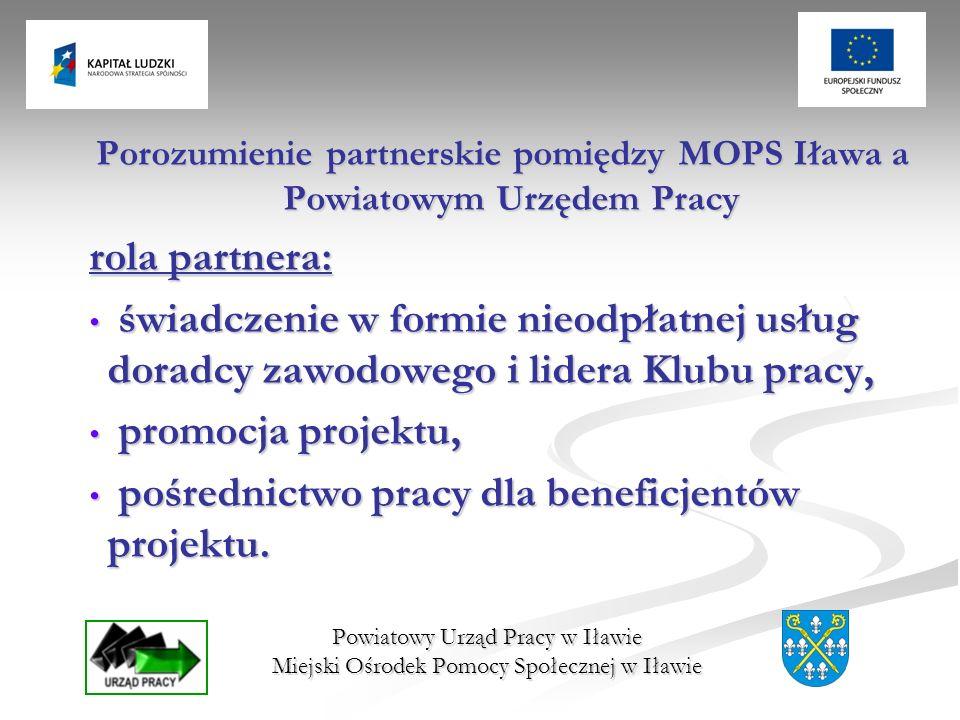 Powiatowy Urząd Pracy w Iławie Miejski Ośrodek Pomocy Społecznej w Iławie Porozumienie partnerskie pomiędzy MOPS Iława a Powiatowym Urzędem Pracy rola