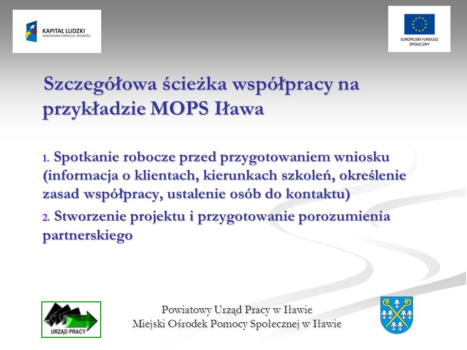 Powiatowy Urząd Pracy w Iławie Miejski Ośrodek Pomocy Społecznej w Iławie Szczegółowa ścieżka współpracy na przykładzie MOPS Iława 1. Spotkanie robocz