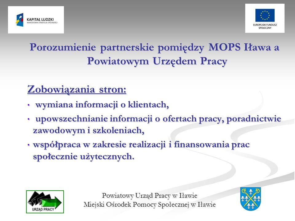 Powiatowy Urząd Pracy w Iławie Miejski Ośrodek Pomocy Społecznej w Iławie Porozumienie partnerskie pomiędzy MOPS Iława a Powiatowym Urzędem Pracy Zobo