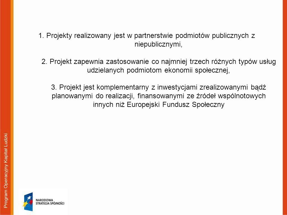 1. Projekty realizowany jest w partnerstwie podmiotów publicznych z niepublicznymi, 2. Projekt zapewnia zastosowanie co najmniej trzech różnych typów