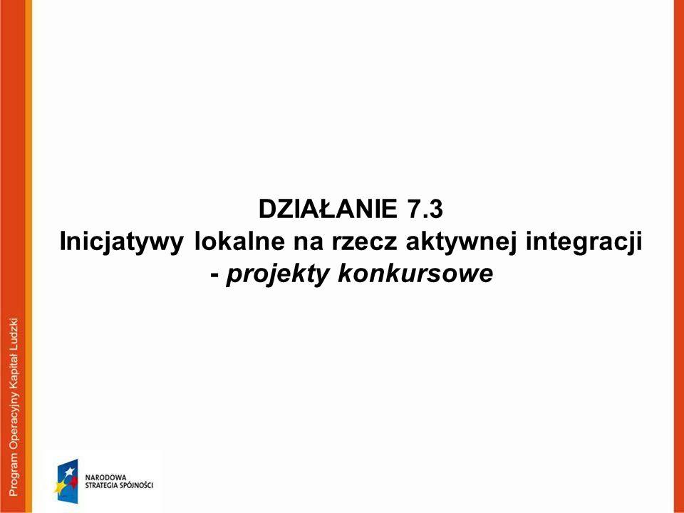 DZIAŁANIE 7.3 Inicjatywy lokalne na rzecz aktywnej integracji - projekty konkursowe