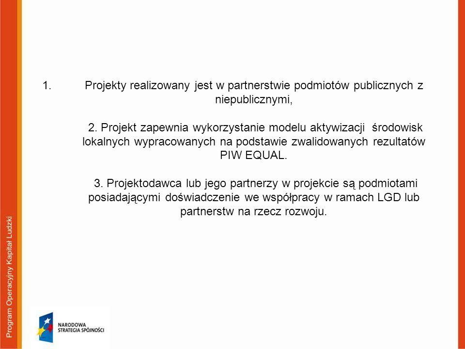 1.Projekty realizowany jest w partnerstwie podmiotów publicznych z niepublicznymi, 2. Projekt zapewnia wykorzystanie modelu aktywizacji środowisk loka