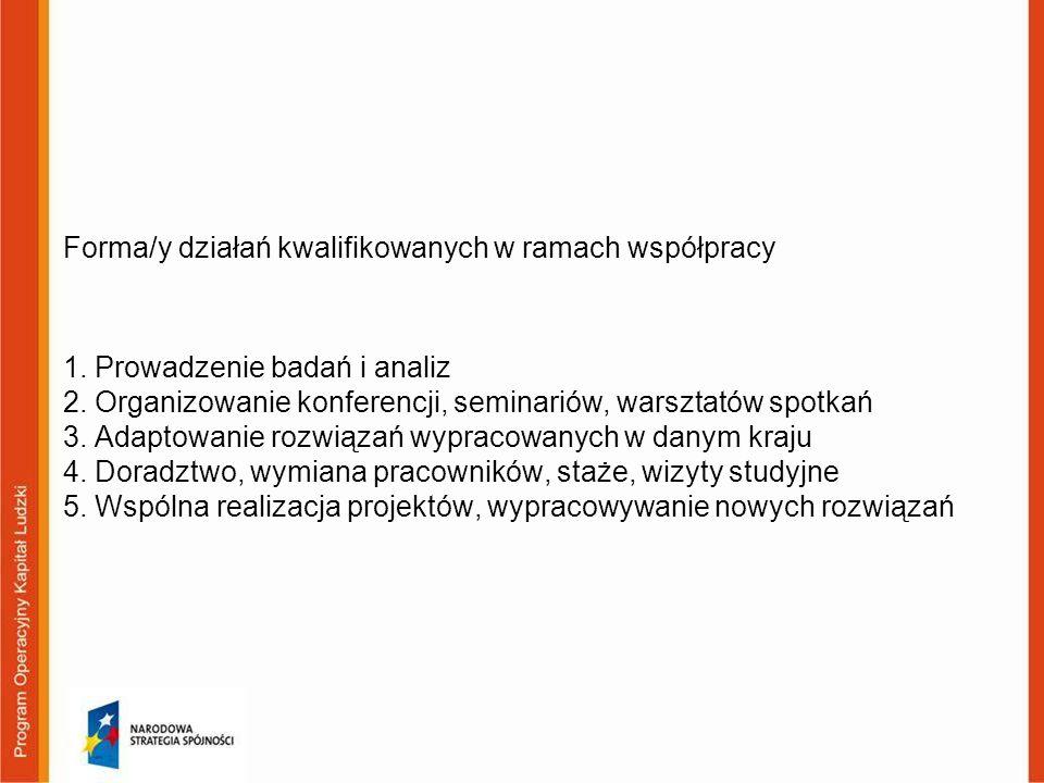 Forma/y działań kwalifikowanych w ramach współpracy 1. Prowadzenie badań i analiz 2. Organizowanie konferencji, seminariów, warsztatów spotkań 3. Adap