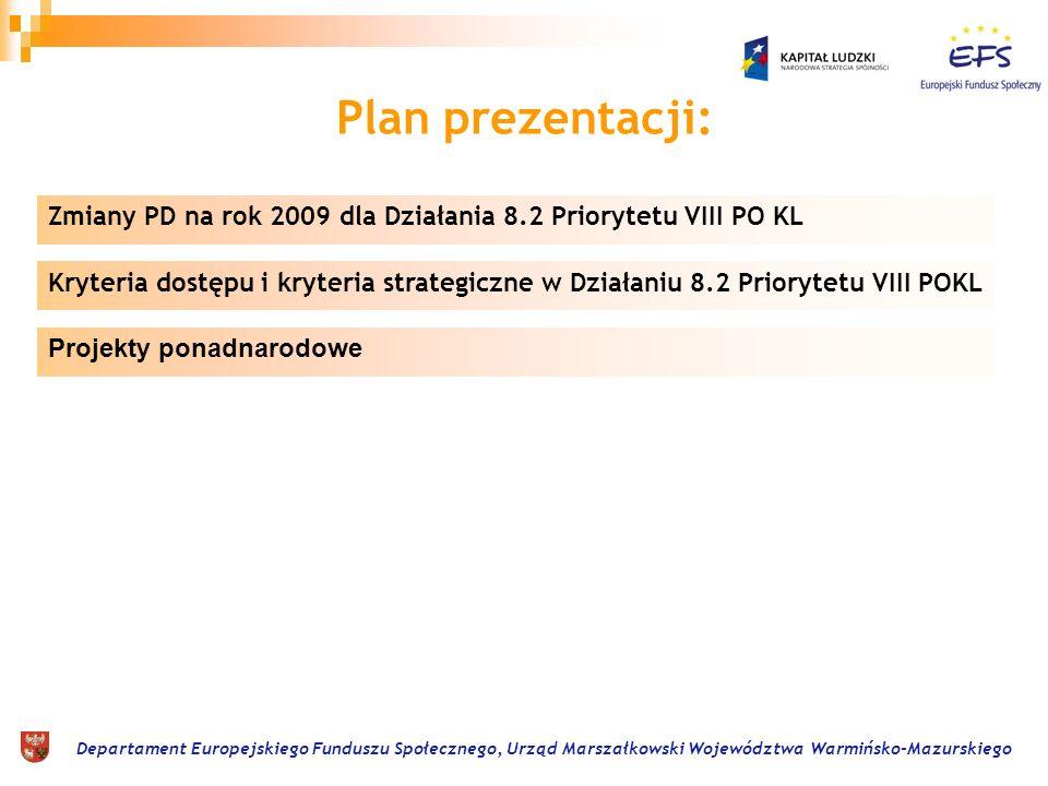 Departament Europejskiego Funduszu Społecznego, Urząd Marszałkowski Województwa Warmińsko-Mazurskiego Zmiany PD na rok 2009 dla Działania 8.2 Priorytetu VIII PO KL CZĘŚĆ E Projekty ponadnarodowe Stosuje się do typu/ów projektów (nr) było Stosuje się do typu/ów projektów (nr) jest Forma/y działań kwalifikowanych w ramach współpracy 1.
