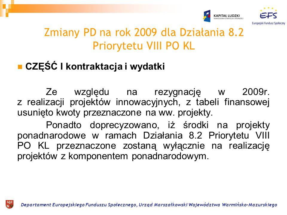 Departament Europejskiego Funduszu Społecznego, Urząd Marszałkowski Województwa Warmińsko-Mazurskiego Kryteria – Poddziałanie 8.2.1 1.