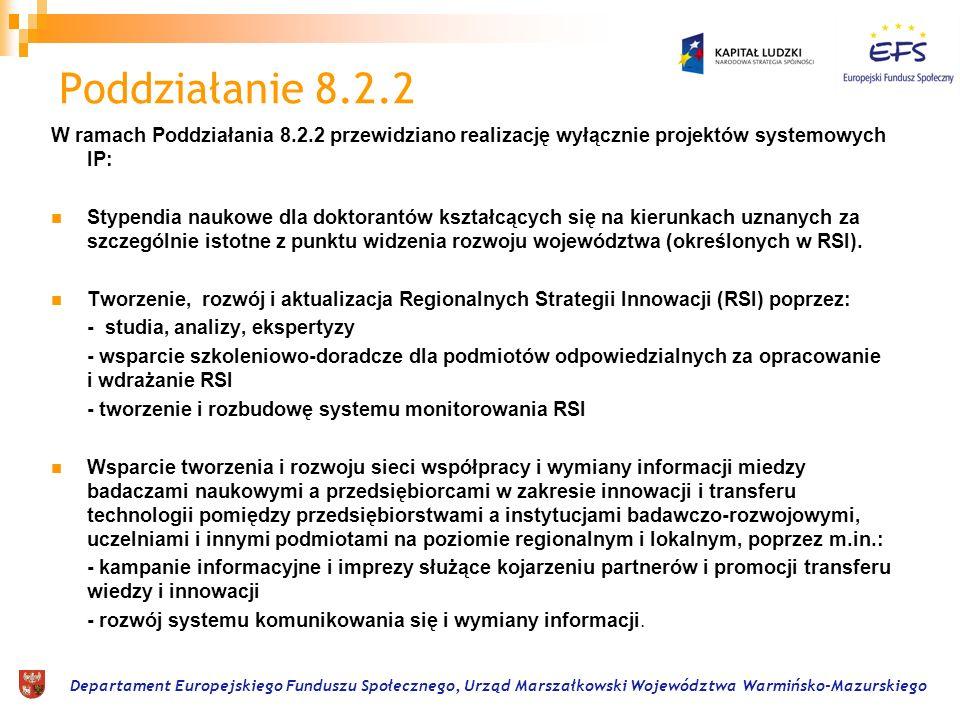 Departament Europejskiego Funduszu Społecznego, Urząd Marszałkowski Województwa Warmińsko-Mazurskiego Projekty ponadnarodowe w 8.2.1 1.