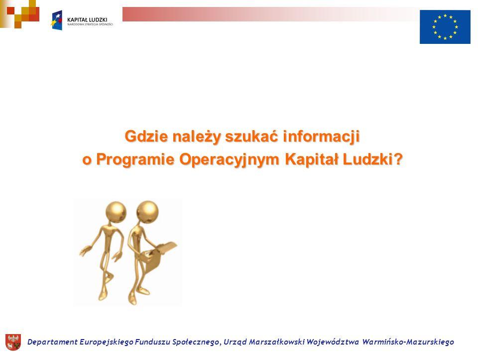Gdzie należy szukać informacji o Programie Operacyjnym Kapitał Ludzki.