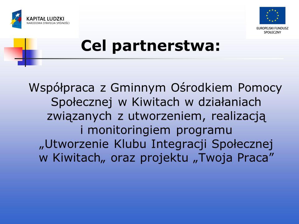 Cel partnerstwa: Współpraca z Gminnym Ośrodkiem Pomocy Społecznej w Kiwitach w działaniach związanych z utworzeniem, realizacją i monitoringiem progra