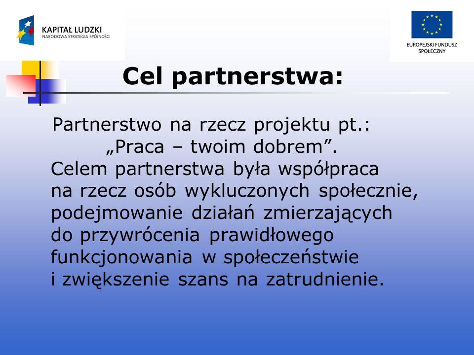 Cel partnerstwa: Partnerstwo na rzecz projektu pt.: Praca – twoim dobrem. Celem partnerstwa była współpraca na rzecz osób wykluczonych społecznie, pod