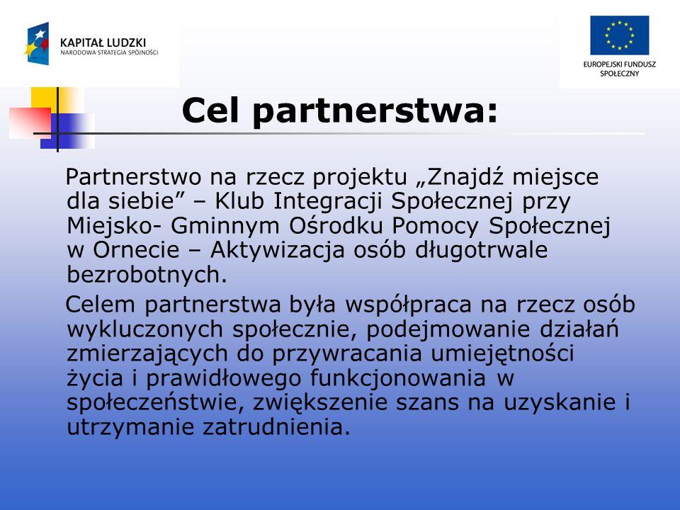 Cel partnerstwa: Partnerstwo na rzecz projektu Znajdź miejsce dla siebie – Klub Integracji Społecznej przy Miejsko- Gminnym Ośrodku Pomocy Społecznej