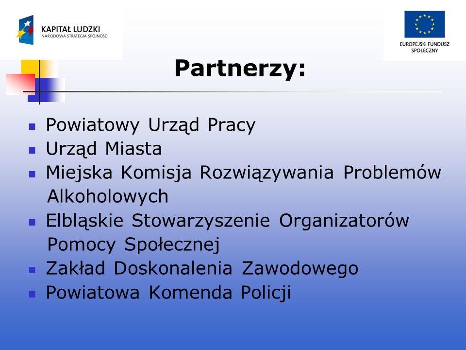 Partnerzy: Powiatowy Urząd Pracy Urząd Miasta Miejska Komisja Rozwiązywania Problemów Alkoholowych Elbląskie Stowarzyszenie Organizatorów Pomocy Społe