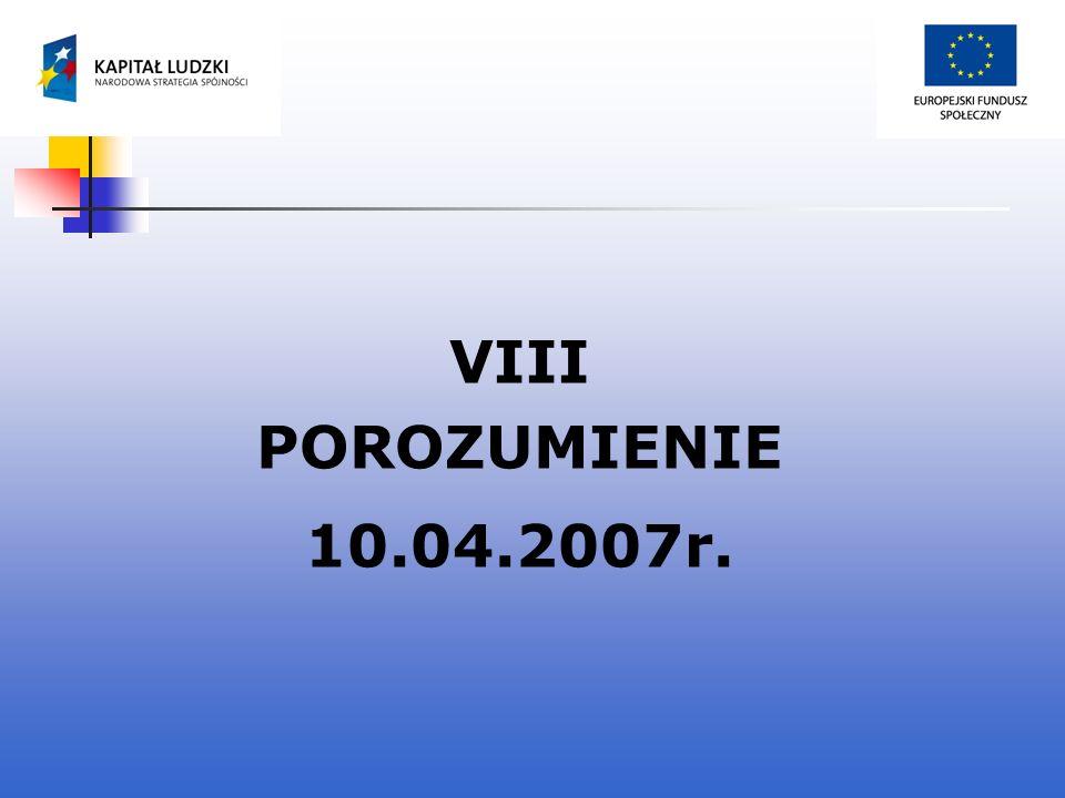 VIII POROZUMIENIE 10.04.2007r.