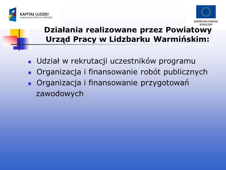 Działania realizowane przez Powiatowy Urząd Pracy w Lidzbarku Warmińskim: Udział w rekrutacji uczestników programu Organizacja i finansowanie robót pu