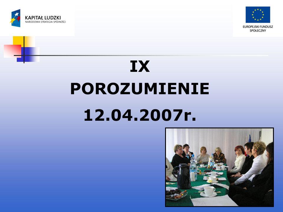 IX POROZUMIENIE 12.04.2007r.