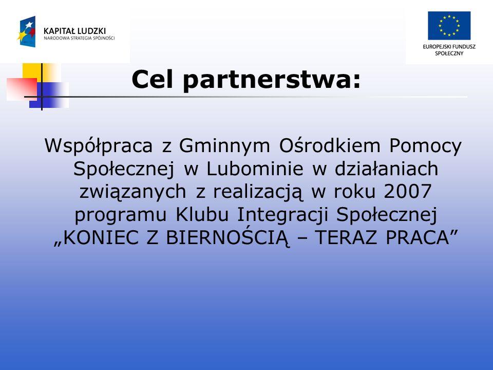 Cel partnerstwa: Współpraca z Gminnym Ośrodkiem Pomocy Społecznej w Lubominie w działaniach związanych z realizacją w roku 2007 programu Klubu Integra