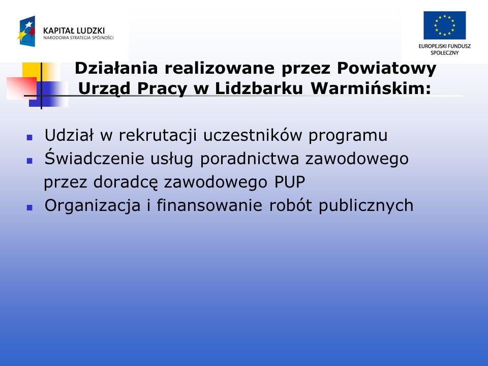 Działania realizowane przez Powiatowy Urząd Pracy w Lidzbarku Warmińskim: Udział w rekrutacji uczestników programu Świadczenie usług poradnictwa zawod