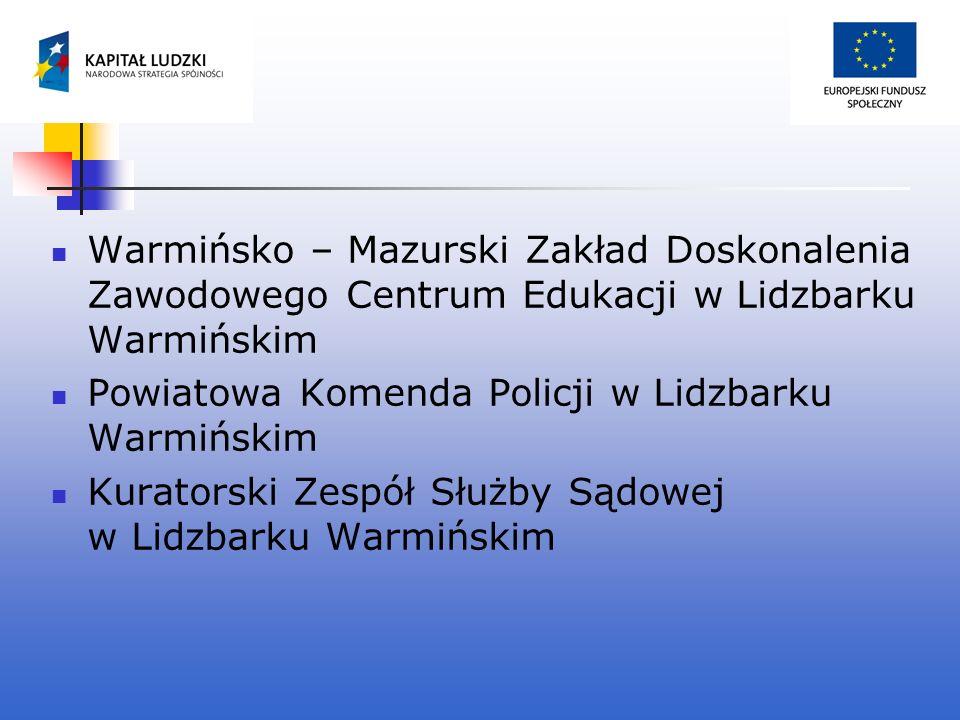 Warmińsko – Mazurski Zakład Doskonalenia Zawodowego Centrum Edukacji w Lidzbarku Warmińskim Powiatowa Komenda Policji w Lidzbarku Warmińskim Kuratorsk
