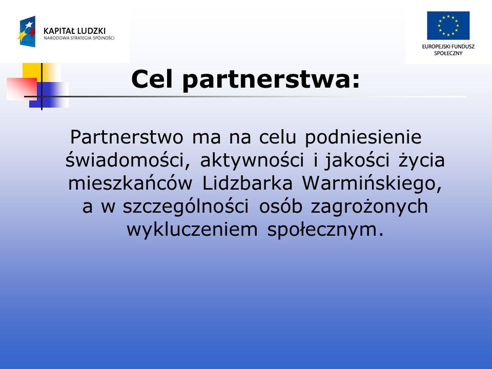 Cel partnerstwa: Partnerstwo ma na celu podniesienie świadomości, aktywności i jakości życia mieszkańców Lidzbarka Warmińskiego, a w szczególności osó