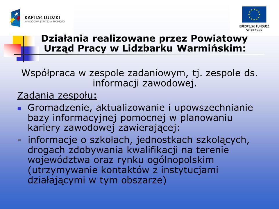 Działania realizowane przez Powiatowy Urząd Pracy w Lidzbarku Warmińskim: Współpraca w zespole zadaniowym, tj. zespole ds. informacji zawodowej. Zadan