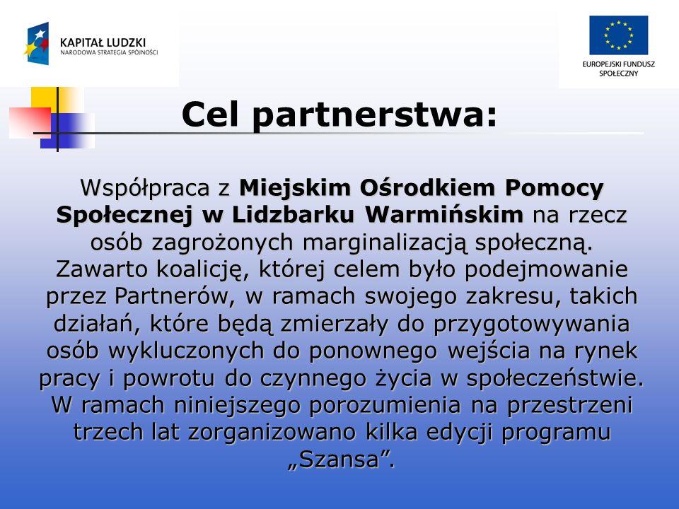 Cel partnerstwa: Współpraca z Miejskim Ośrodkiem Pomocy Społecznej w Lidzbarku Warmińskim na rzecz osób zagrożonych marginalizacją społeczną. Zawarto